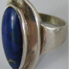 Inel vechi din argint cu piatra lapis lazuli (2) - de colectie