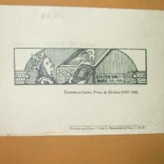 Invitatie N. Iorga Sorbona 1925 verso desen Stefan cel Mare