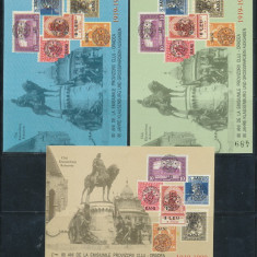 1999 ROMANIA set 3 colite numerotate nedantelate 80 ani de la Emisiunea Cluj - Timbre Romania, Istorie, Nestampilat