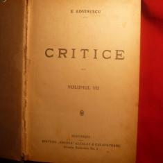 Eugen Lovinescu - Critice vol.7-8-9 colegate-I.Ed. 1923 - Studiu literar