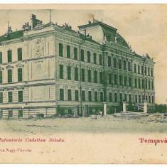 638 - L i t h o, TIMISOARA, Military Infantry School - old postcard used 1903 - Carte Postala Banat pana la 1904, Circulata, Printata