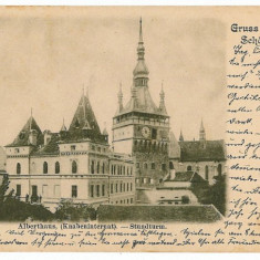 1038 - L i t h o, Mures, SIGHISOARA, The clock tower - old postcard - used -1904 - Carte Postala Transilvania pana la 1904, Circulata, Printata
