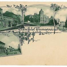 1132 - L i t h o, TIMISOARA, Multi vue, Synagogue - old postcard - used - 1899 - Carte Postala Banat pana la 1904, Circulata, Printata