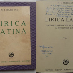 Herescu, Lirica latina, interbelica, pe hartie speciala, vargata, ex. 257 - Carte Editie princeps