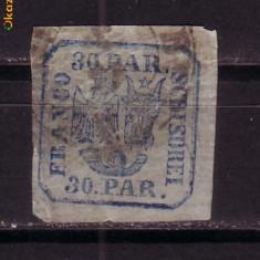 Romania L010 c 30 parale H.Vargata obliter.1862 - Timbre Romania