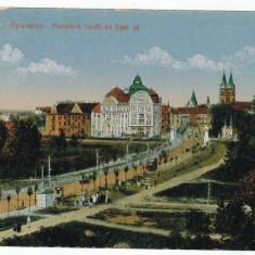 1596 - TIMISOARA, Baia Centrala, Ave. and Trams - old postcard - used - 1918 - Carte Postala Banat 1904-1918, Circulata, Printata