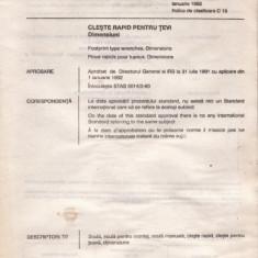 STANDARD ROMANESC STAS 5014/2 - CLESTE RAPID PENTRU TEVI - Diploma/Certificat