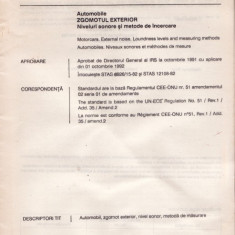STANDARD ROMANESC STAS 6926/15 - AUTOMOBILE ZGOMOTUL EXTERIOR - Diploma/Certificat