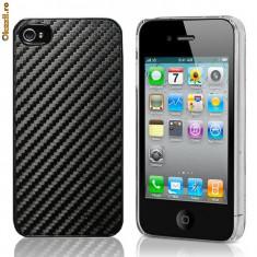 Husa protectie carbon iphone 4 antiradiatii poze reale negru - Husa Telefon Apple, iPhone 4/4S, Silicon, Carcasa