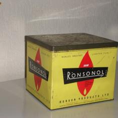 Raritate! Cutie metalica de colectie Ronsonol RONSON Products Ltd. anii 20 pentru gaz de bricheta - Bricheta de colectie