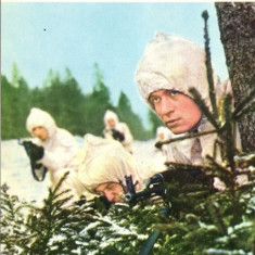 Ilustrata sport - carte postala militara, solodati vanatori de munte, camuflaj de iarna