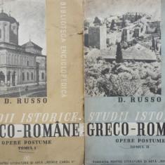 D. Russo, Studii istorice greco - romane, 1939, 2 vol., editie postuma ingrijita de C. C. Giurescu, cu autograful acestuia catre Malaxa - Carte Editie princeps