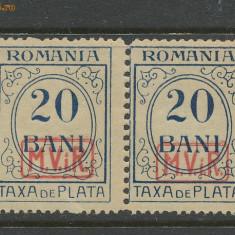 1917 Germania Ocupatia ROMANIA sursarj MViR porto 20 b pereche eroare dantelura
