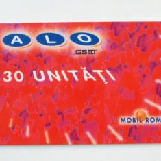 CARTELA ROMANIA ALO GSM 30 UNITATI CS DE LA RUE - PENTRU COLECTIONARI ** - Cartela GSM