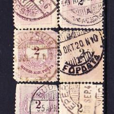Timbre Ungaria 1874/A2 - Lot de 6 v. Plic cu numeral