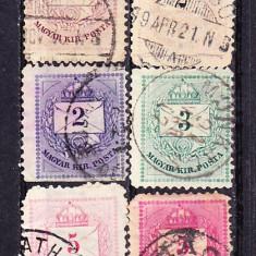 Timbre Ungaria 1874 - 88 Lot de 6 v. Plic cu numeral