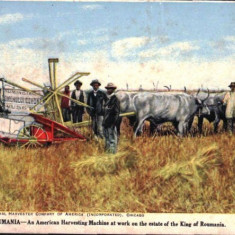 1910 - litografie - Masina de recoltat americana pe Domeniile Coroanei
