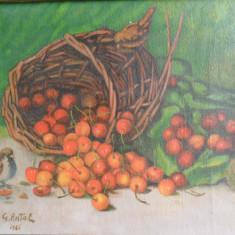 G. Antal - Natura statica cu cirese, ulei pe panza, pictura veche, Realism