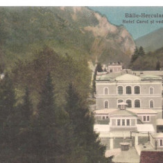 Carte postala-BAILE HERCULANE-Hotel Carol si vedere