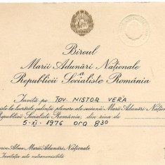 Invitatie--- la plenara MARII ADUNARI NATIONALE 1976