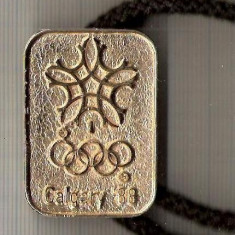 "CIA 264 Medalie Olimpiada de iarna ,,Calgari `88"", cred ca este de arbitru -dimensiuni circa 44X31 milimetri"
