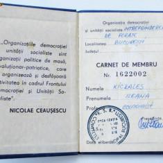 ROMANIA RSR CARNET MEMBRU ORGANIZATIA DEMOCRATIEI SI UNITATII SOCIALISTE FDUS ** - Pasaport/Document, Romania de la 1950