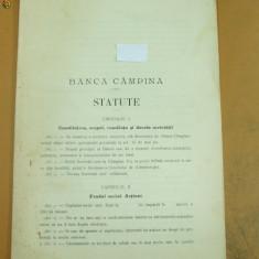 Statute Banca Campina 1911 - Carte Editie princeps
