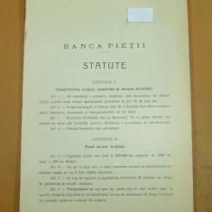 Statute Banca Pietii 1911 - Carte Editie princeps