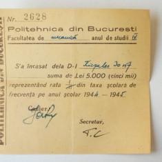 ROMANIA CHITANTA TAXA SCOLARIZARE POLITEHNICA BUCURESTI AN SCOLAR 1944 - 1945 ** - Hartie cu Antet