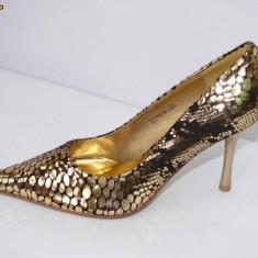 Pantofi de gala pentru femei, aurii, - (CHIARA 8815-8 gold) REDUCERE EXCEPTIONALA DE PRET - Pantof dama, Culoare: Auriu, Marime: 36, Auriu