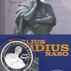 BNR 5 lei 2008, argint, portret Publius Ovidius Naso, statuia din Constanta - Moneda Romania
