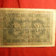 Bancnota 50 Marci 1914, GERMANIA , cu lipitura , cal. slaba