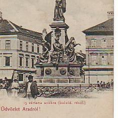 Ok-0985- Ro, Arad, c.p. adresata, necirc. apr.1900: Statuia 13 martiri, animat - Carte Postala Crisana pana la 1904, Necirculata, Fotografie