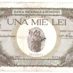 * Bancnota 1000 lei 1939 - cu overprint - verzuie - Bancnota romaneasca