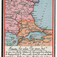571 - HARTA - Constanta, Medgidia, Bucuresti, Alexandria, Calarasi. Oltenita - old postcard - unused - Harta Romaniei
