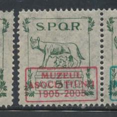 1906 ROMANIA timbru fiscal SPQR ASTRA & doua exemplare supratiparite Muzeu 2005 - Timbre Romania, Nestampilat