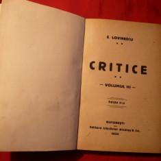 Eugen Lovinescu - CRITICE 1920, vol.3, Ed. a II a - Studiu literar