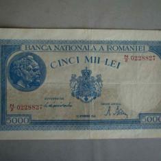 Bancnota 5000 lei 10 octombrie 1944/2 - Filigran Orizontal - Bancnota romaneasca