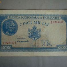 Bancnota 5000 lei 10 octombrie 1944/1 - Filigran Orizontal - Bancnota romaneasca