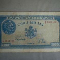 Bancnota 5000 lei 15 decembrie 1944/1 - Filigran Orizontal - Bancnota romaneasca