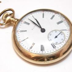 Ceas de buzunar suflat cu aur 24k Elgin - Ceas de buzunar vechi