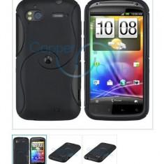 Cover HTC Sensation husa neagra antiradiatii silicon + folie protectie ecran + expediere gratuita - Husa Telefon