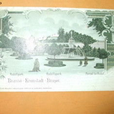 Carte postala clasica Brasov Parcul lui Rudolf Editura Julius Muller