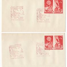 RFL 1949 doua plicuri speciale Prietenia Romano-Sovietica cu timbru dantelat + nedantelat - Plic Papetarie