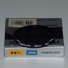 Filtru foto Marumi Blue 80A 55mm - Excelent pt. foto de exterior cu multa zapada