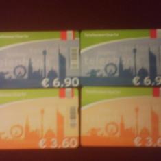Lot 4 cartele telefonice de 3, 6 si 6, 9 euro - Catela telefonica