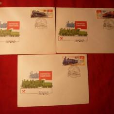 Set 5 Plicuri FDC - Tematica LOCOMOTIVE -URSS - Plic Papetarie