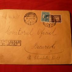 Plic circ. cu val.16 lei Carol II + Fondul Aviatiei, Recomandat Timisoara