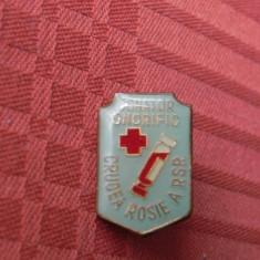 INSIGNA DONATOR ONORIFIC CRUCEA ROSIE A RSR, Romania de la 1950