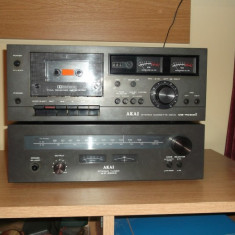 Casetofon deck AKAI CS-702D II + Stereo Tuner AT2200 black - Deck audio